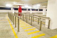Empty parking lot. Stainless steel railing at empty parking lot Stock Photography