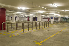 Empty parking lot. Stainless steel railing at empty parking lot Stock Images
