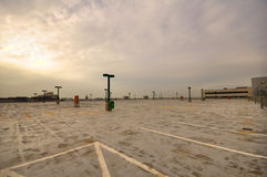 Empty parking-lot in sunset Royalty Free Stock Photography