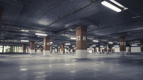 Empty parking lot. Urban, industrial background. Empty parking lot wall Urban, industrial background stock photo