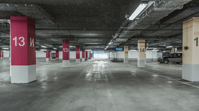 Empty parking lot wall. Urban, industrial background Royalty Free Stock Photos