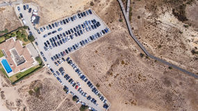 Empty parking lots, aerial view. Royalty Free Stock Photo
