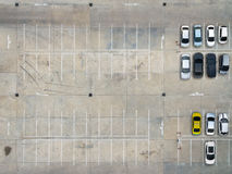 Empty parking lots in supermarket, aerial view. Royalty Free Stock Photos