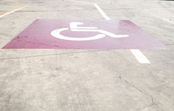 Empty parking places with handicapped or disabled signs and mark Stock Photo