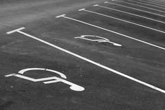 Empty parking places with handicapped or disabled signs Royalty Free Stock Photo