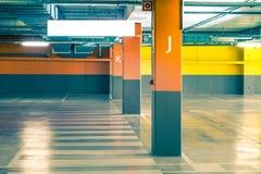 Empty parking underground garage interior in apartment house or in supermarket.  Royalty Free Stock Photo