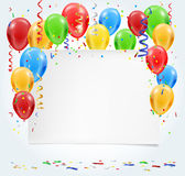 Empty party invitation with balloons and confetti flying Stock Photo