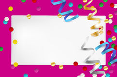 Empty party invitation with paper and confetti Royalty Free Stock Photos