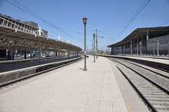 Empty passenger platforms. Stock Photo