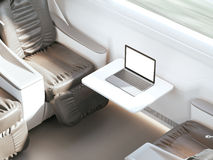 Empty passenger train or bus interior with grey seats. Side view, 3D Rendering Royalty Free Stock Photography