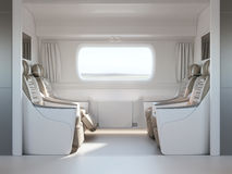 Empty passenger train or bus interior with grey seats. Side view, 3D Rendering Stock Photo