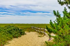 Empty pathway with fence to the beach on a clear summer day in Provincetown, Cape Cod, Massachusetts. USA Stock Images