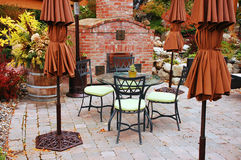 Empty patio. Patio with empty chairs and tables Royalty Free Stock Photography