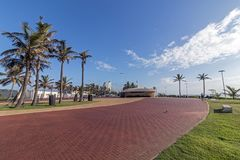 Empty Patterned and Paved Promenade on Beachfront Stock Photo
