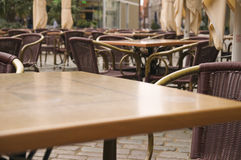 Empty pavement cafe Royalty Free Stock Image