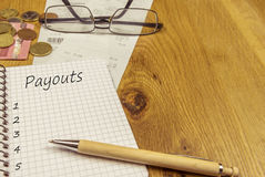 Empty payouts list on a notebook page royalty free stock images