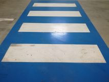 Empty pedestrian crossings. White and blue pedestrian crossing Royalty Free Stock Photography