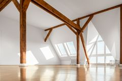 Empty penthouse apartment room interior. With wooden beams and parquet floor Royalty Free Stock Photography