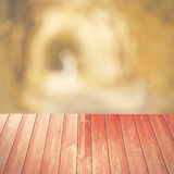 Empty perspective red wood over blurred trees with bokeh backgro Royalty Free Stock Photos