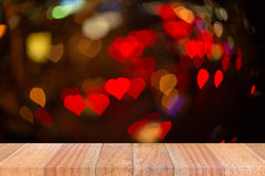 Empty perspective room with heart sparkling bokeh wall Stock Photos