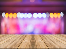 Empty perspective room with sparkling bokeh wall and wooden plank floor,Template mock up for display. Stock Photography