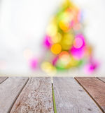Empty perspective wood over blur bokeh  background of Christmas Royalty Free Stock Image