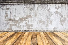 Empty perspective wood plank table top with old cement wall blac. Kground for montage of your product Stock Photo