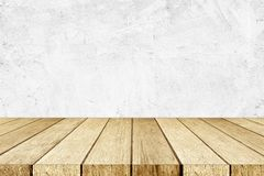 Empty perspective wood and white cement wall background, room, t. Able top, shelf for product display montage background, mock up, vintage style stock photo