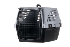 Empty pet carrier with closed door isolated on white background Stock Image