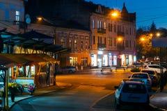 Empty Petefi square in evening. Beautiful cityscape of uzhgorod stock photo