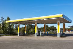 Empty petrol station. Energy and oil industry background. Nobody. Horizontal Stock Photos