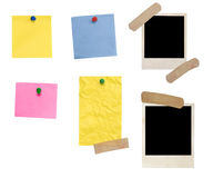 Empty photo frame and colored blanks Stock Images