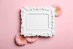 Empty photo frame and flowers on color background. Top view. Space for text royalty free stock photos