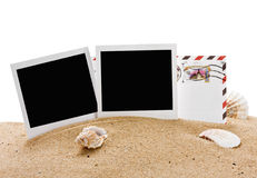 Empty photo frame and a letter from vacation Stock Photo