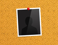 Empty photo frame pinned to a cork notice board with red push pin. Vector. Empty photo frame pinned to a cork notice board with red push pin Stock Photo
