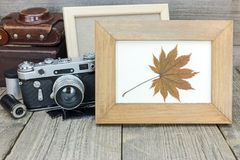 Empty photo frame and vintage camera with leather case on grey w Royalty Free Stock Image