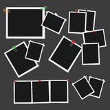 Empty Photo Frames Attached with Pins Vector Set Royalty Free Stock Photography