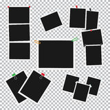 Empty Photo Frames Attached with Pins Vector Set Stock Images