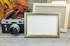 Empty photo frames and classic camera on gray wooden desk with d Stock Images