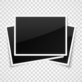 Empty photo frames on transparent checkered background Stock Images