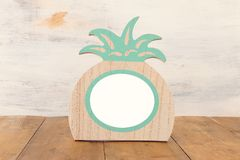 Empty photo pineapple shape frame. For photography and scrapbook montage.  stock image
