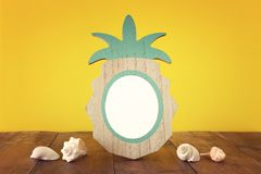 Empty photo pineapple shape frame. For photography and scrapbook montage.  stock photos