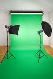 Empty Photo Studio. With Lights and Green Backdrop stock photos