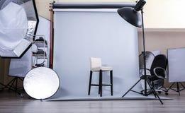 Empty photo studio. With lighting equipment royalty free stock photos