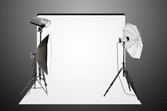 Empty photo studio with lighting equipment Royalty Free Stock Photography