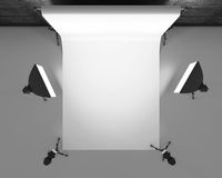 Empty photo studio with lighting equipment. 3d rendering Royalty Free Stock Photo