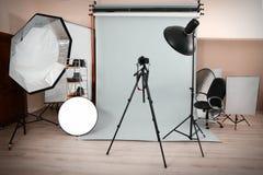 Empty photo studio. With lighting equipment royalty free stock images