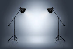 Empty photo studio with spotlights. Realistic vector illustration stock illustration