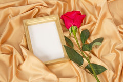 Empty photoframe with rose Stock Image