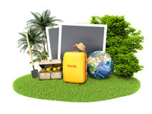 Empty photos, chest of gold and traveling equipment Royalty Free Stock Images